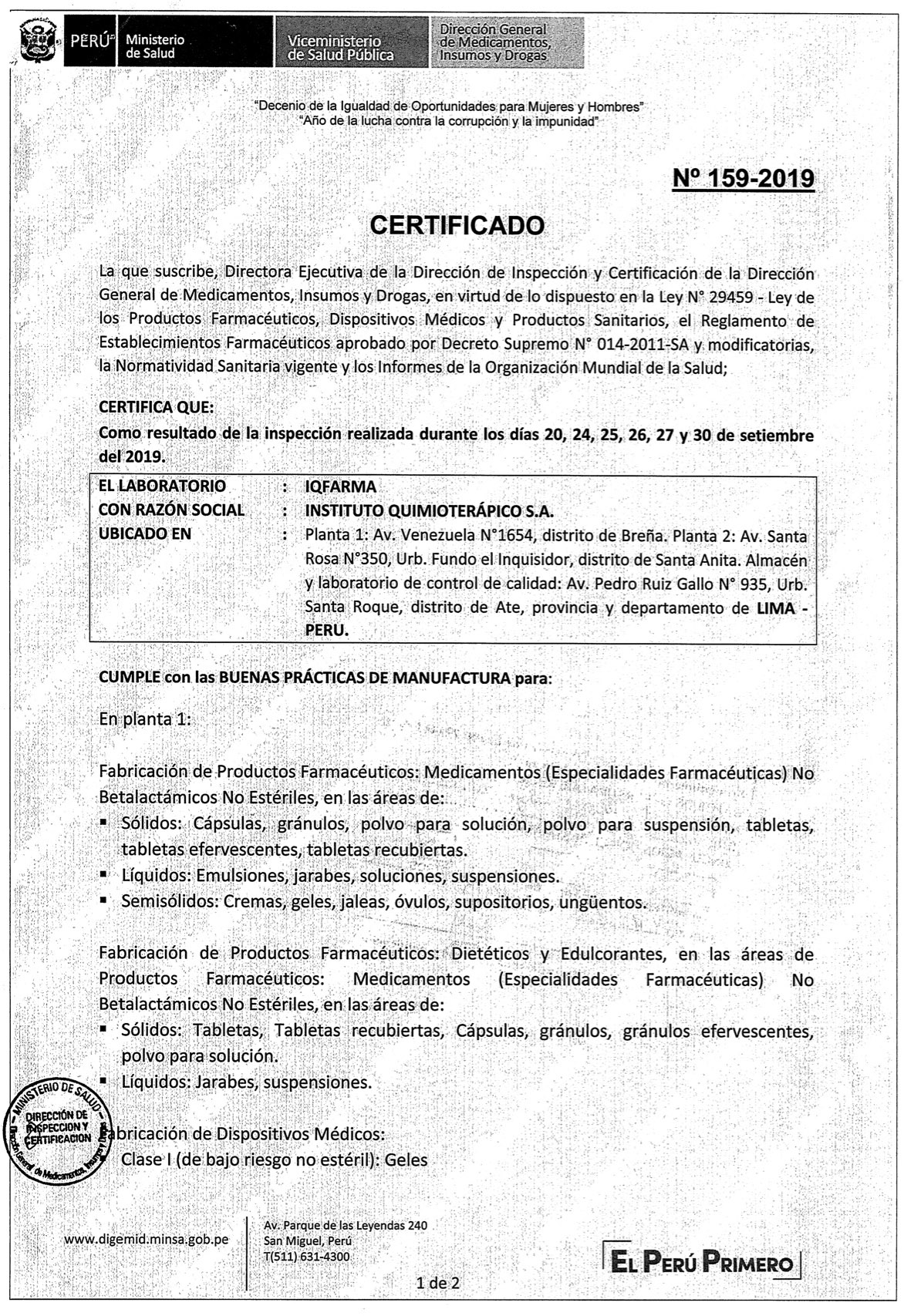 16. CERTIFICADO BPM N° 159-2019