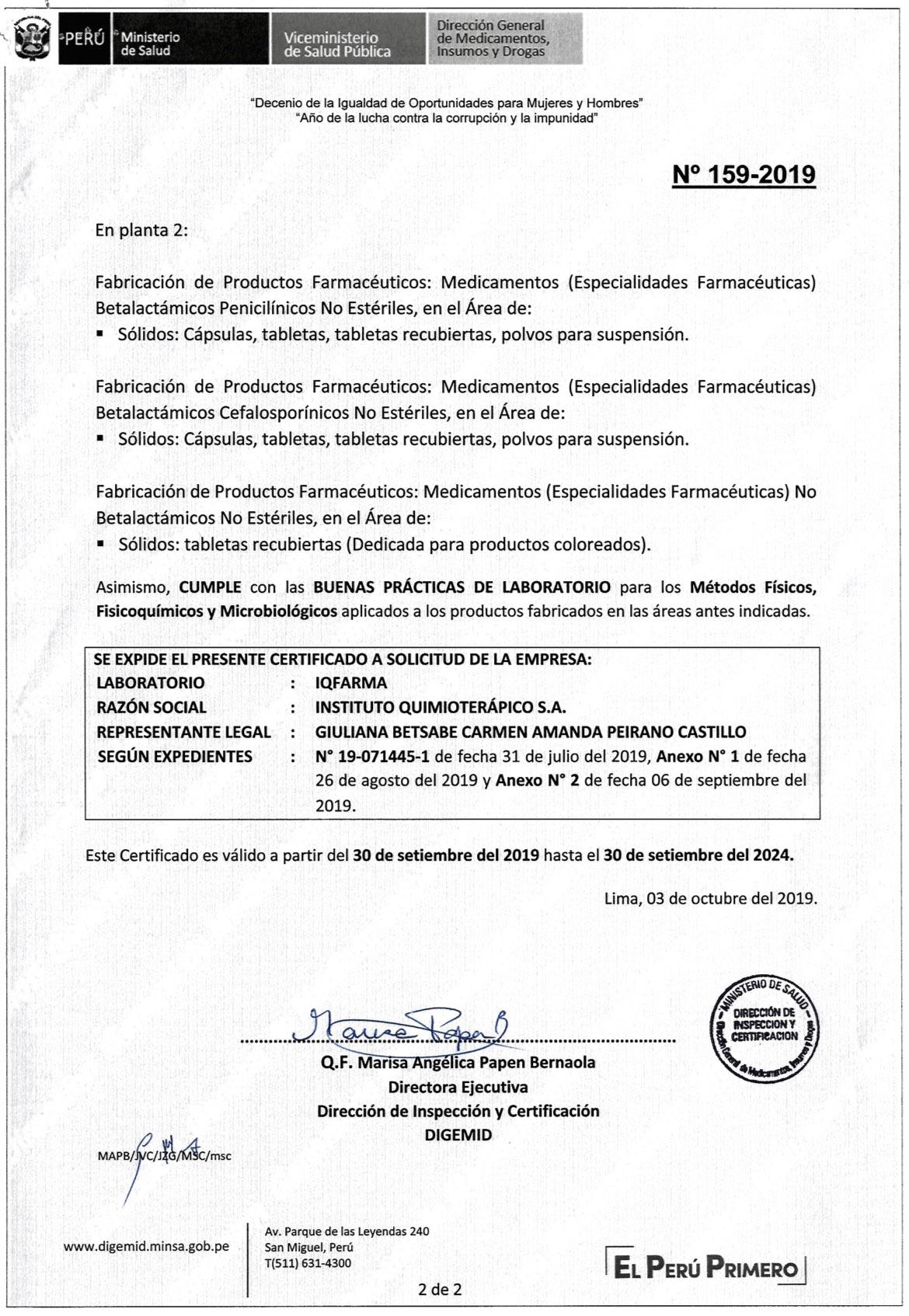 16. CERTIFICADO BPM N° 159-2019 (2)