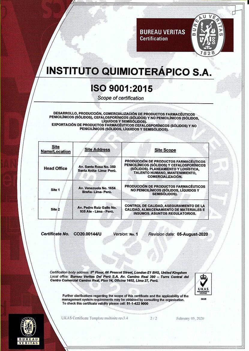 CERTIFICADO ISO 9001 - PER-450-19-020 - IQ FARMA pag. 2